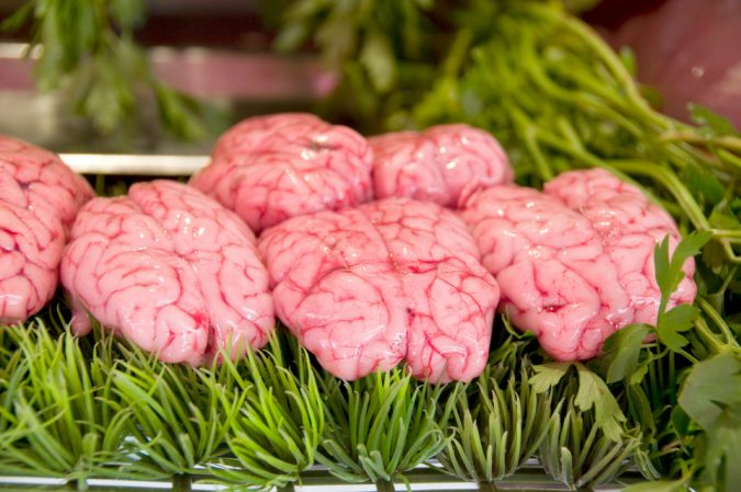 cow brains in butcher shop