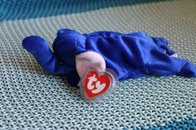 Royal Blue Peanut the Elephant Beanie Baby1