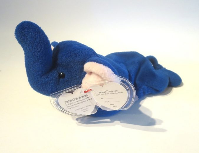Royal Blue Peanut the Elephant Beanie Baby2