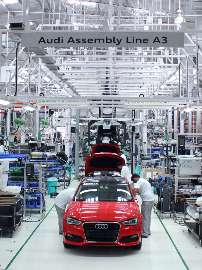 Audi, the German luxury car manufacturer started production of the next big Audi - Audi A3 Sedan, at its Aurangabad plant, in the state of Maharashtra in July 2014. After the Audi A6, the Audi A4, the Audi Q5, the Audi Q7 and the Audi Q3, the Audi A3 Sedan will be the sixth model to be produced at the plant. The Audi A3 Sedan will be launched in the Indian market soon.