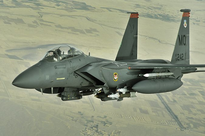 An F-15E Strike eagle conducts a mission over Afghanistan on Oct. 7. The F-15E Strike Eagle is a dual-role fighter designed to perform air-to-air and air-to-ground missions. An array of avionics and electronics systems gives the F-15E the capability to fight at low altitude, day or night, and in all weather. (U.S. Air Force photo/Staff Sgt. Aaron Allmon)