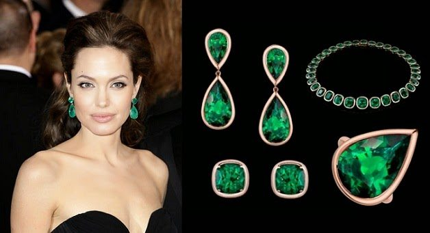 Angelina Jolie's Emerald Earrings and Ring