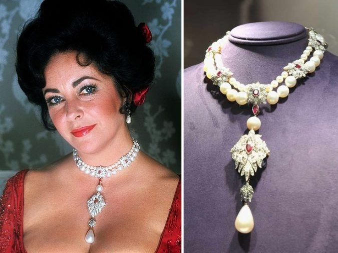 Elizabeth Taylor's Natural Pearl, Diamond, Ruby and Cultured Pearl Necklace, by Cartier
