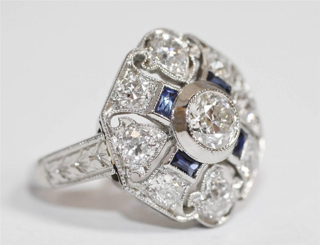 estate diamond luxury platinum large lxrandco silver en rings vintage us pre ring tone fr owned sapphire jewelry