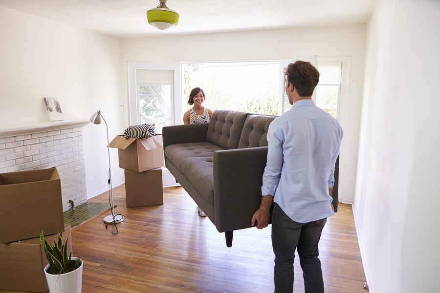 put away furniture in a storage unit