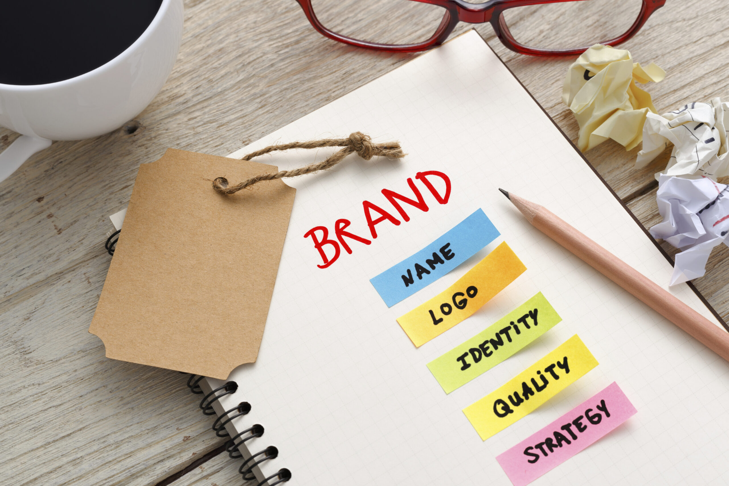 Brand marketing concept with brand tag