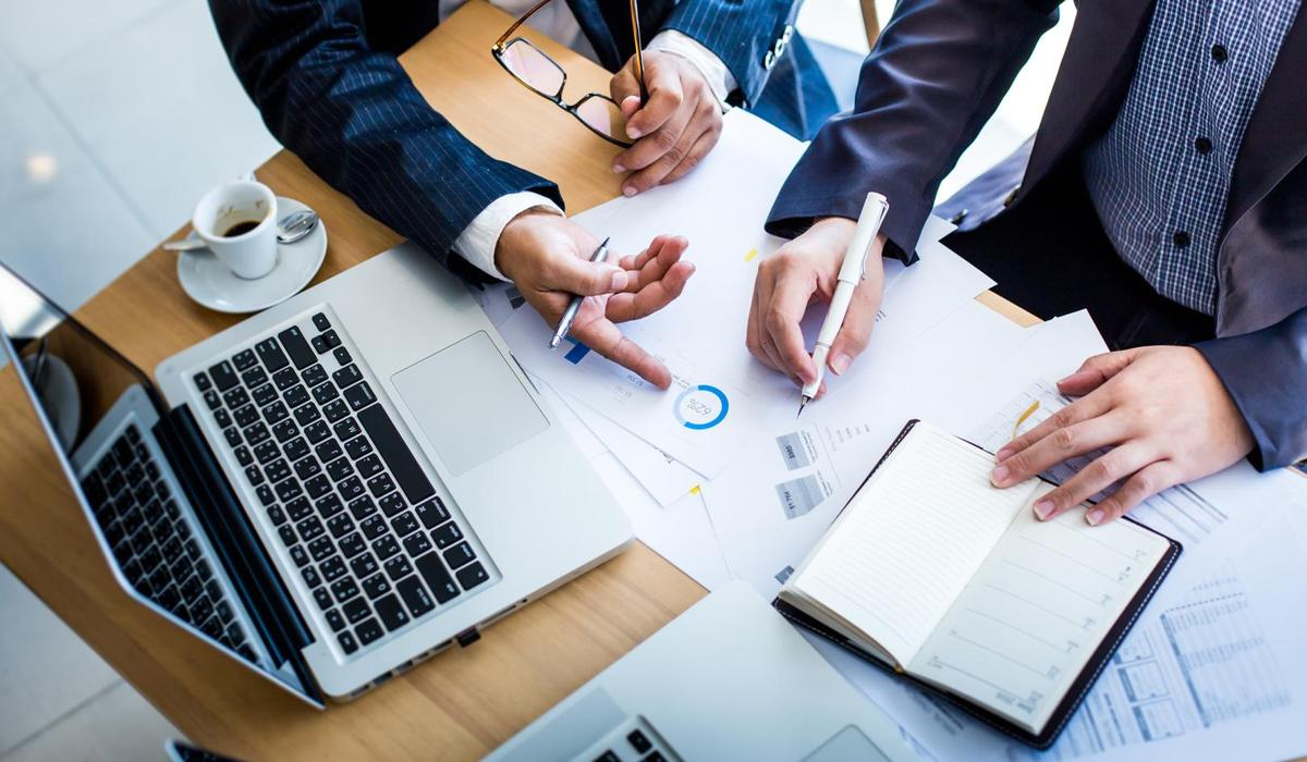 business using laptop